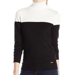 Calvin Klein Black and White Colorblock Turtleneck